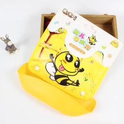 Слюнявчик со съемным карманом на липучке, желтый. Веселая пчелка.
