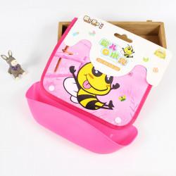Слюнявчик со съемным карманом на липучке, розовый. Веселая пчелка.