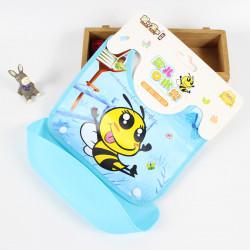Слюнявчик со съемным карманом на липучке, голубой. Веселая пчелка.