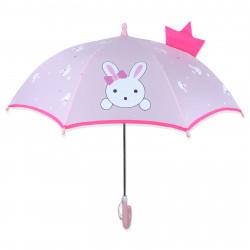 Детский зонтик, розовый. Зайка с короной.