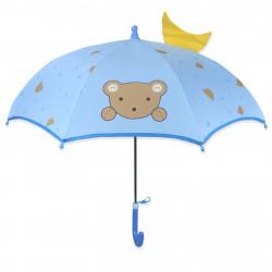 Детский зонтик, голубой. Мишка с короной.