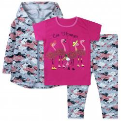Костюм для девочки тройка, серый. Фламинго и цветы.