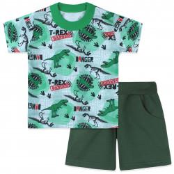 Костюм для мальчика, зеленый. Опасные динозавры.