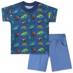 Костюм для мальчика, синий. Скелеты динозавры.