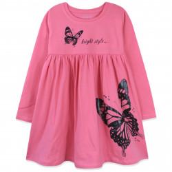 Платье для девочки, розовое. Бабочка.