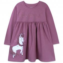 Платье для девочки, пыльно-розовое. Сверкающий единорог.