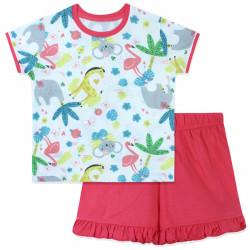 Пижама для девочки, коралловая. Экзотические животные.