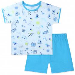 Пижама для мальчика, голубая. Веселые рисунки.
