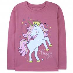 Кофта для девочки, реглан, пыльно-розовая. Единорог в короне.