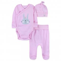 Комплект 3 в 1 для новорожденной девочки, розовый. Зайчик с короной.