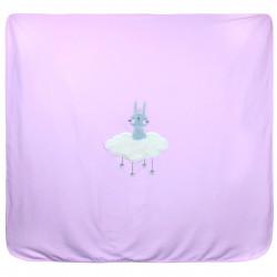Покрывало двойное детское, плед, простынь, розовое. 85*90 см. Зайка на облачке. Хлопок 100%.