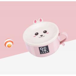 Тарелка с крышкой и ложкой, розовая. Анимешный заяц.