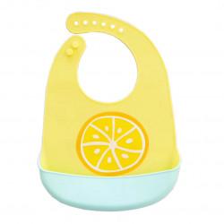 Слюнявчик силиконовый с карманом на застежке, желтый. Лимон.