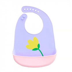 Слюнявчик силиконовый с карманом на застежке, фиолетовый. Тюльпан.