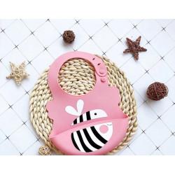Слюнявчик силиконовый с карманом на застежке, розовый. Пчелка.