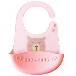 Слюнявчик силиконовый с карманом на застежке, розовый. Мишка.
