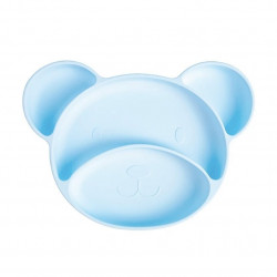 Тарелка на присоске, голубая. Медвежонок.