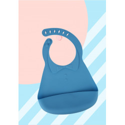 Слюнявчик силиконовый с карманом на застежке, голубой. Воротничок.
