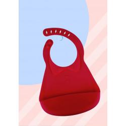 Слюнявчик силиконовый с карманом на застежке, красный. Воротничок.
