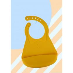 Слюнявчик силиконовый с карманом на застежке, желтый. Воротничок.