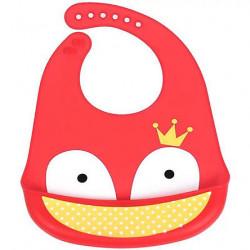 Слюнявчик силиконовый с карманом на застежке, красный. Лиса с короной.