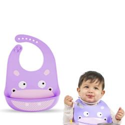 Слюнявчик силиконовый с карманом на застежке, фиолетовый. Бегемот.