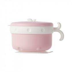 Тарелка-термос на присоске с крышкой и ложкой, розовая. Food.