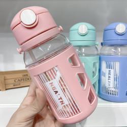 Бутылка детская пластиковая, поильник, розовая. Health. 400 мл.