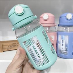 Бутылка детская пластиковая, поильник, мятная. Health. 400 мл.
