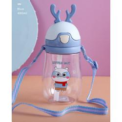 Бутылка с рожками детская пластиковая, поильник, голубая. Енотик. 400 мл.