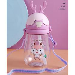 Бутылка с рожками детская пластиковая, поильник, фиолетовая. Олененок. 400 мл.