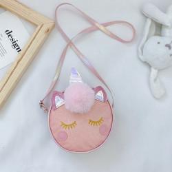 Сумка детская, розовая. Единорог и меховой бубон.