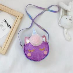 Сумка детская, фиолетовая. Единорог и меховой бубон.