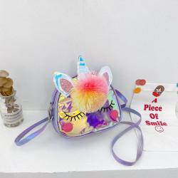 Сумка детская, фиолетовая. Единорог и бубончик.