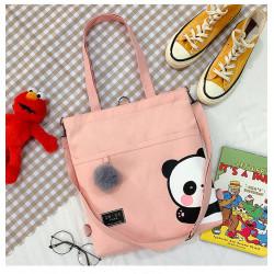 Сумка-рюкзак детский, шоппер, розовая. Панда.