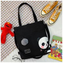Сумка-рюкзак детский, шоппер, черная. Панда.