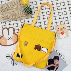 Сумка-рюкзак детский, шоппер, желтая. Панда и медведь.