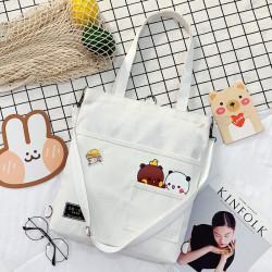 Сумка-рюкзак детский, шоппер, белая. Панда и медведь.