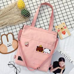 Сумка-рюкзак детский, шоппер, розовая. Панда и медведь.