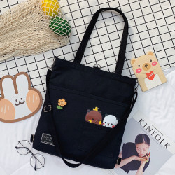Сумка-рюкзак детский, шоппер, черная. Панда и медведь.