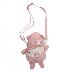 Сумка детская, розовая. Стильный мишка.