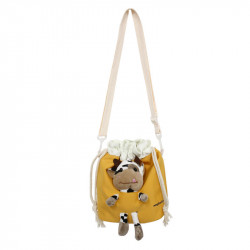 Сумка-мешок детская, желтая. Коровка Буренка.