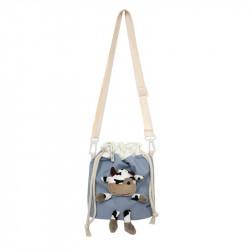 Сумка-мешок детская, голубая. Коровка Буренка.