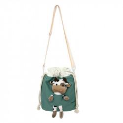 Сумка-мешок детская, зеленая. Коровка Буренка.