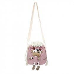 Сумка-мешок детская, розовая. Коровка Буренка.
