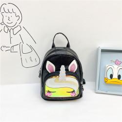 Детский рюкзак с силиконовым карманам, черный. Симпатичный единорог.