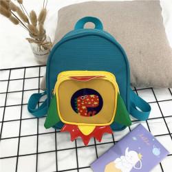 Детский рюкзак с каркасным карманом, бирюзовый. Дино в ракете.