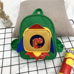 Детский рюкзак с каркасным карманом, зеленый. Дино в ракете.