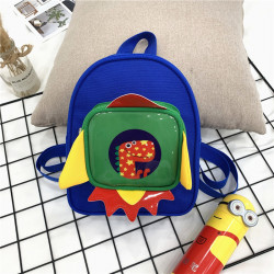Детский рюкзак с каркасным карманом, синий. Дино в ракете.