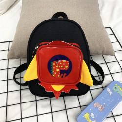 Детский рюкзак с каркасным карманом, черный. Дино в ракете.